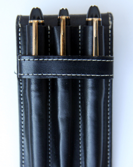 Vegetable Dyed triple leather pen case. Available in four colors: Egyptian Red, Black, Chocolate, and Sienna. Made In The U.S.A.